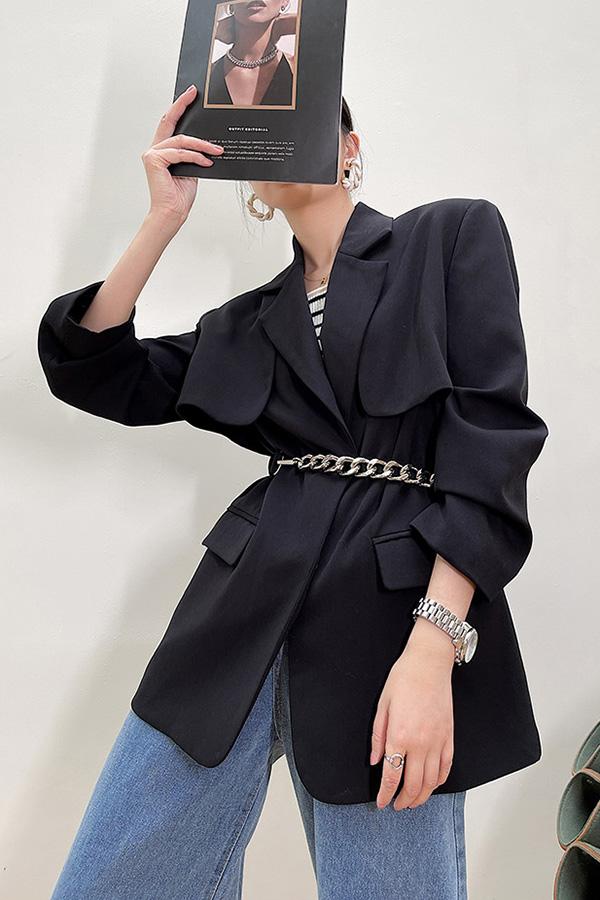일라이 센터체인 커버 포인트 데일리 루즈핏 여성자켓 (블랙)
