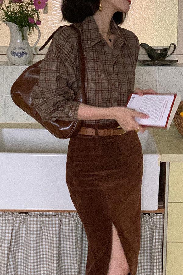 올리체크 루즈핏 레트로 데일리 오피스 셔츠 (커피)