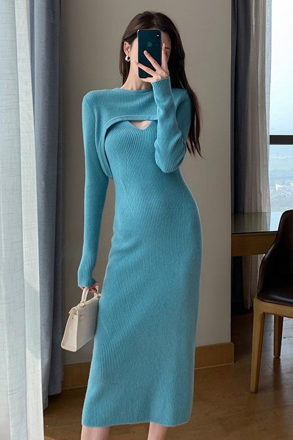 셀리나 숏 볼레로 골지 텐션업 심플 롱원피스 투피스코디세트SET (블루)