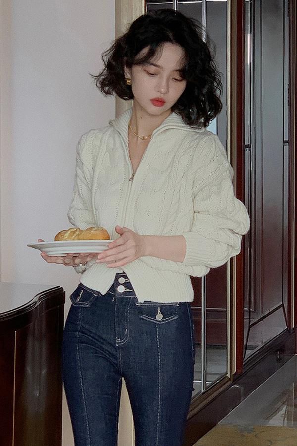 센트 꽈배기 굵은골지카라 데일리 지퍼 데일리 니트가디건 (살구,커피)