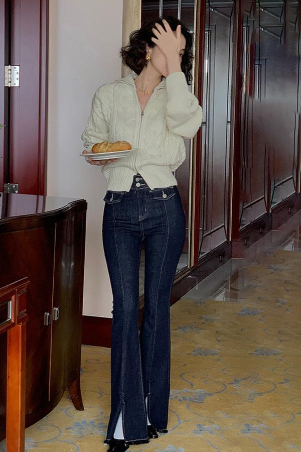 그레이트 스티치 프론트포켓 밑단절개 페미닌 부츠컷 데님팬츠 (블랙,블루)